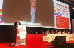 Simon Norrthon talar på Europafackens kongress
